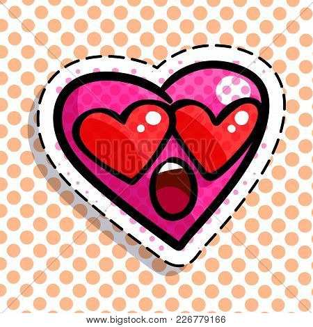 Red Wondered Heart On Dots Background. Art Design For Valentines Day Greetings And Card In Pop Art S