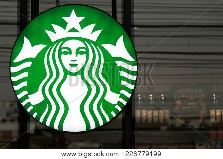 Ayutthaya, Thailand - December 26, 2017 - Starbucks Logo Locate In Front Of Starbucks Coffee Cafe. T