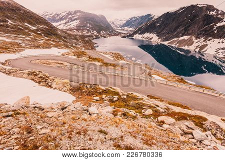 Tourism Holidays And Travel. Road To Dalsnibba Mountain And Djupvatnet Lake In Stranda More Og Romsd