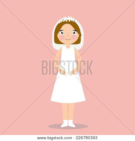 Hand Drawn Vector Abstract Wedding Bridal In White Dress Illustration Isolated On Pink Background. E