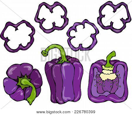 Purple Bell Peper Set. Half Of Violet Sweet Paprika And Rings Of Pepper Cuts. Fresh Ripe Raw Vegetab