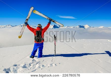 Skiing with amazing view of France famous mountains in beautiful winter in 3 valeys.
