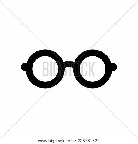 Black Glasses Icon In Flat Style. Isolated Glasses Icon For Use In Variety Of Projects. Monochrome V