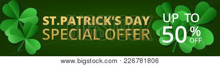 Saint Patricks Day Sale. Horizontal Web Banner In Origami Style