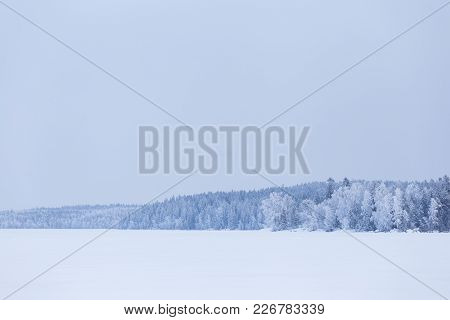 Minimalistic Winter Lake Landscape Cloudy Day Background