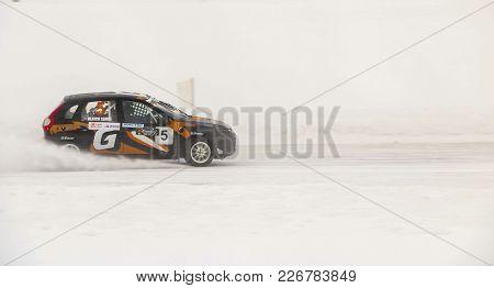 Cheboksary, Russia - January 28, 2018: Winter Auto Show - Ice Race. Car Rally On Frozen Lake. Speed