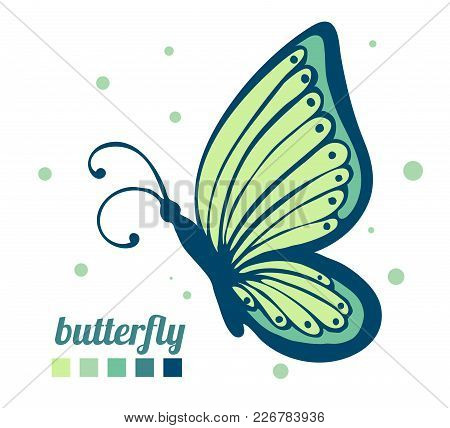 Beautiful Butterfly Sideways. Element For Decoration And Design. Vector