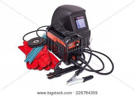 Inverter Welding Machine, Welding Equipment Isolated On A White Background, Welding Mask, Leather Gl
