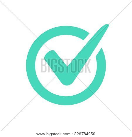 Check Mark Logo Vector Or Icon. Tick Symbol In Green Color Illustration. Accept Okey Symbol For Appr