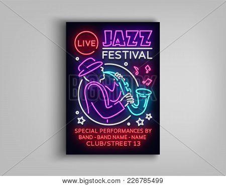 Jazz Festival Poster Neon. Neon Sign, Neon Style Brochure, Design Invitation Template For Jazz Music