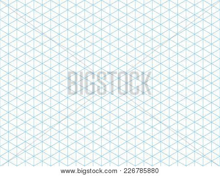 Seamless isometric blue grid backdrop. Template for your design