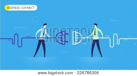 Businessmen Connect Connectors. Cooperation Interaction. Vector Illustration Eps 10 File. Success, C