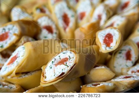 Pancakes Stuffed White Cheese, Dill And Red Fish _