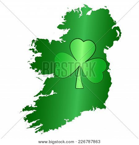 Green Shamrock Symbol And Ireland Island Silhouette. Image For Saint Patricks Day, Also Called Feast