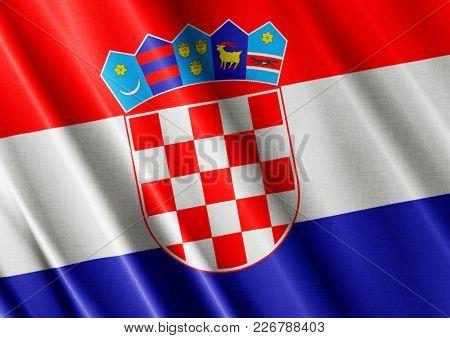 Croatia Textured Proud Country Waving Flag Close