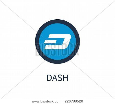 Dash Cryptocurrency, Icon And Title Below, Symbolic Image And Headline, E-commerce System, Vector Il