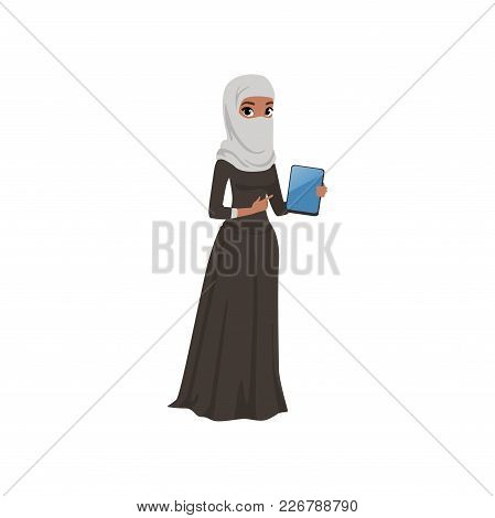 Arabic Businesswoman Character Standing With Electronic Tablet, Elegant Muslim Woman In Traditional