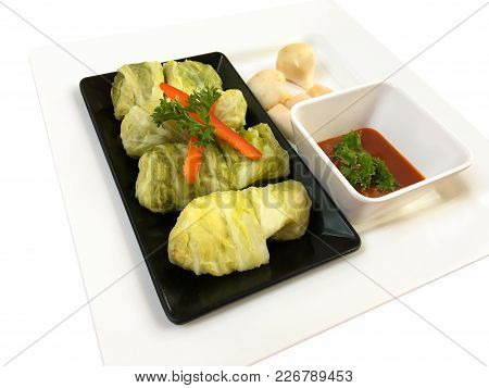 Suki Roll With Meat Ball Decorate Coriander And Chili Isolate On White Background.