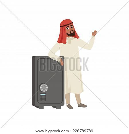 Arabic Businessman Character Standing Next Safety Safe Box, Muslim Man In Traditional Clothing Vecto