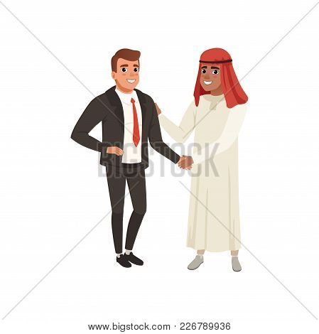 Arabic Businessman Handshaking To His Business Partner Vector Illustration On A White Background, Fl