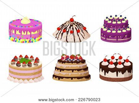 Sweet Bakery Collection, Poster With Cakes Made Of Cream And Biscuit, Berries And Chocolate, Strawbe