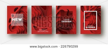 Red Paper Cut Wave Shapes. Layered Curve Origami Design For Business Presentations, Flyers, Posters.