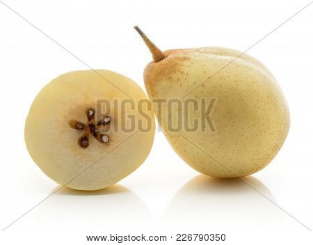 One Nashi Pear With A Half (russet Pear) Isolated On White Background Yellow Textured Flesh With See