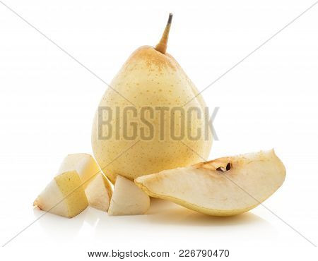 One Nashi Pear With A Slice And Four Cut Pieces (russet Pear) Isolated On White Background Yellow Te