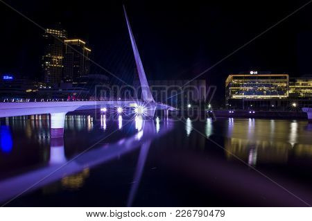 Buenos Aires, Argentina - January 23, 2018: View At Puente De La Mujer Bridge In Buenos Aires, Argen