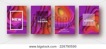 Red Violet Paper Cut Wave Shapes. Layered Curve Origami Design For Business Presentations, Flyers, P