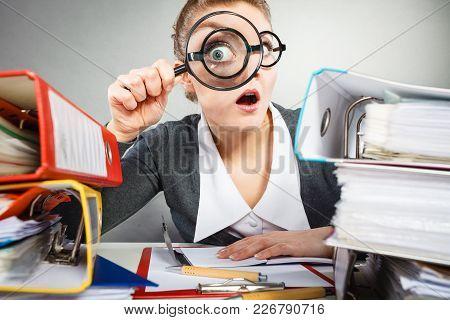 Attention Paperwork Corporate Details Workaholism Concept. Crazy Office Lady At Desk. Workaholic Sec