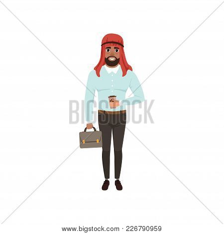 Arabic Businessman Character Standing With Briefcase And Cup Of Coffee, Muslim Man In Formal Wear Ve
