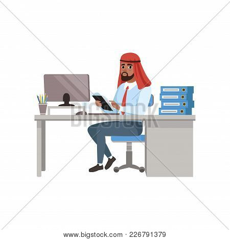 Arabic Businessman Character Sitting At Office Desk And Working On Computer Vector Illustration On A