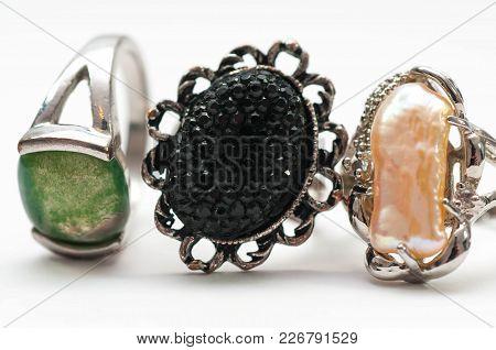 Used, Old  Jewelry Close Up Macro Shot Isolated On White Background.