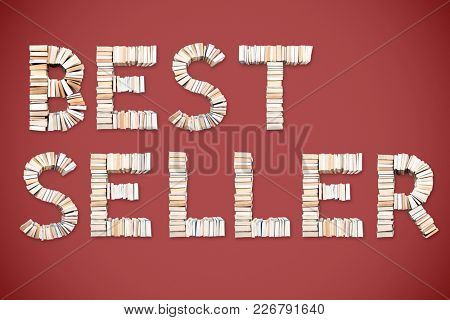 BESTSELLER word formed from books, shot from above on red background