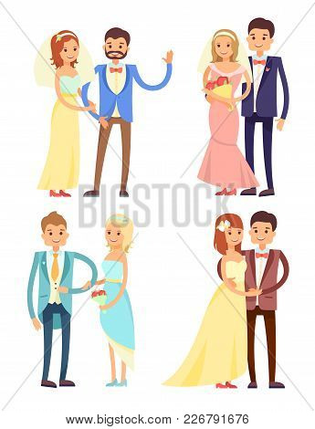 Married Couple Set, Hugs And Love, Brides With Flowers And Wearing Dress, Happy Man Dressed In Suit,