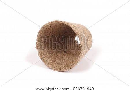 Peat Pot Isolated On The White Background