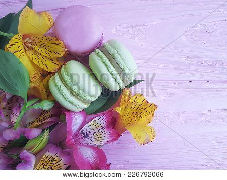 Macaron Pink Wooden Background, Alstroemeria Flower Nobody, Cocoa, Flavor
