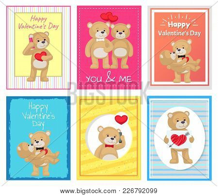 I Love You And Me Teddy Bears With Heart Sign Vector Illustration Of Stuffed Toy Animals, Presents F