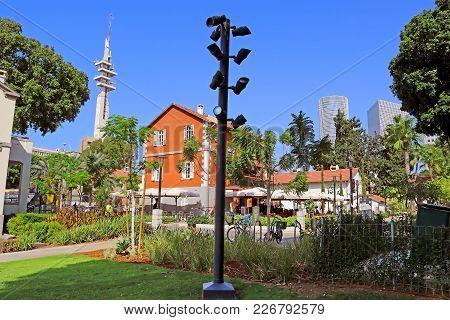Tel Aviv, Israel - September 17, 2017: Sarona Open Air Commercial Center In Tel Aviv, Israel. It's A