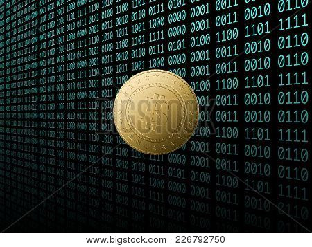 The Bitcoin Symbol With Tech Background In Blue Code
