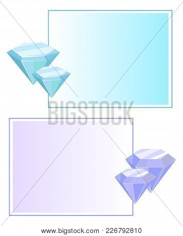 Blue Purple Crystals And Gemstones, Organic Minerals With Square Frame Border Vector Illustration Se