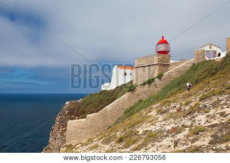 Sintra, Portugal, July  5, 2014: Lighthouse Of Cabo De Sao Vicente, Sagres,algarve,portugal.  Cabo D