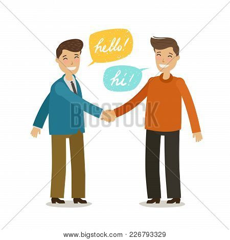 Handshake, Shaking Hands Concept. Happy People Shake Hands In Greeting. Cartoon Vector Illustration