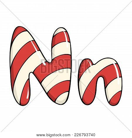 Hand Drawn Vector Candy Cane Letter N