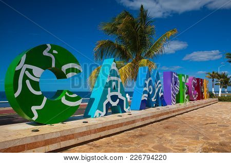 Campeche, Mexico - January 31, 2018: Big Colorful Block Letters Spelling Campeche Offer Tourists A S