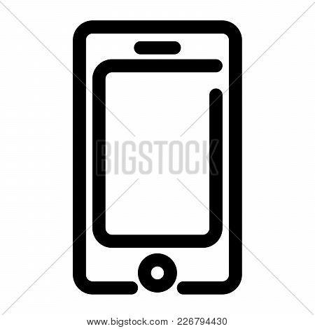 Smartphone Icon. Mobile Phone Symbol. Outline Modern Design Element. Simple Black Flat Vector Sign W