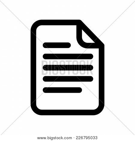 Document Icon. Sheet Of Paper With Text. Outline Modern Design Element. Simple Black Flat Vector Sig