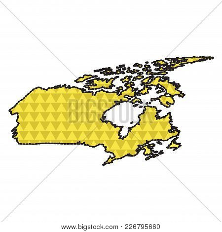 Dotted Line Map Of Canada. Vector Illustration Design