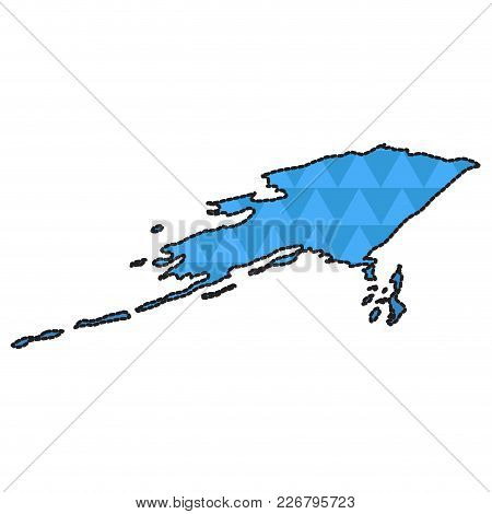 Dotted Line Map Of Alaska. Vector Illustration Design
